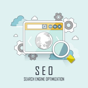 41182213 - seo website searching engine optimization process in thin line style